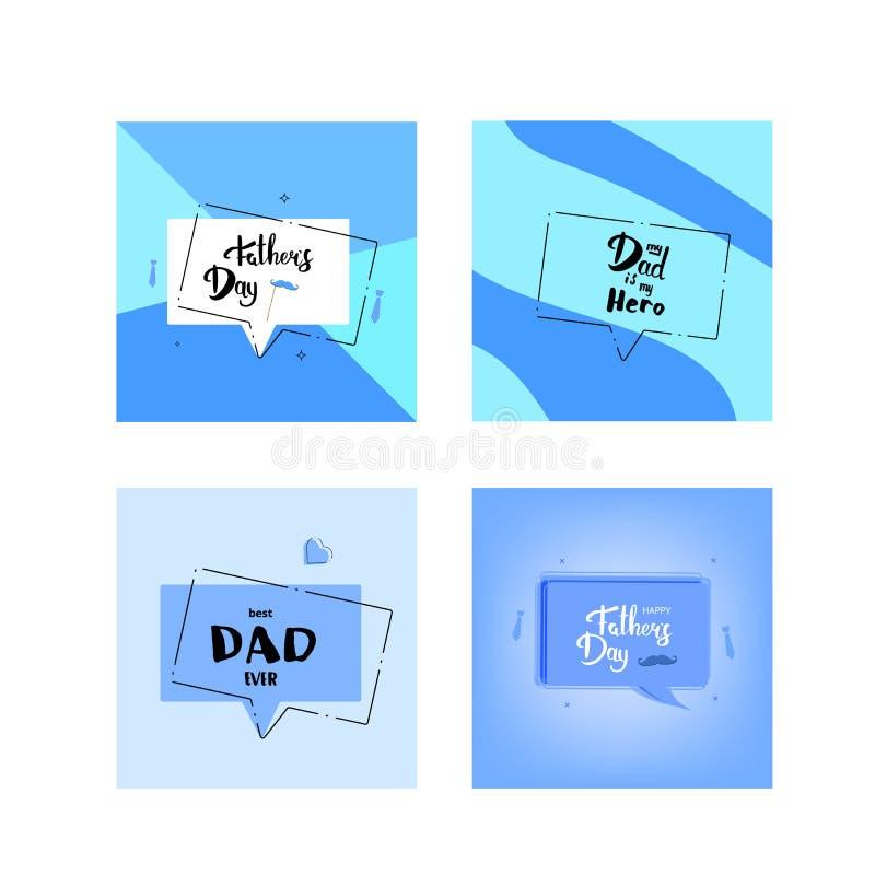 Uppsättning av lyckliga kort för dag för fader` s stock illustrationer