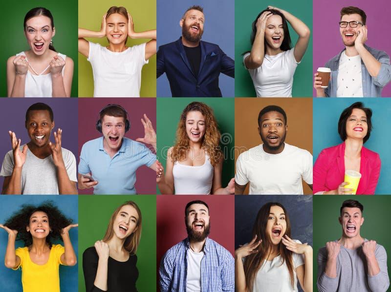 Uppsättning av lyckligt olikt folk på studiobakgrunder arkivbild