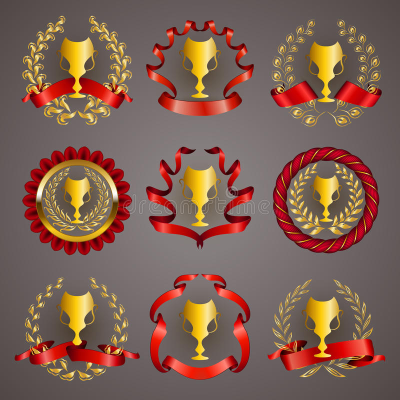 Uppsättning av lyxiga guld- koppar royaltyfri illustrationer