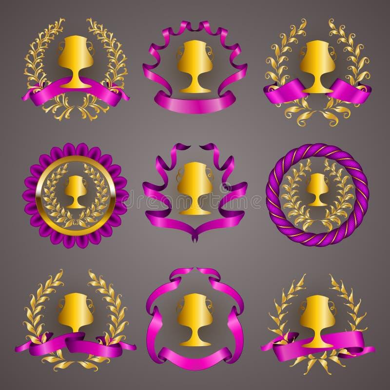 Uppsättning av lyxiga guld- koppar stock illustrationer