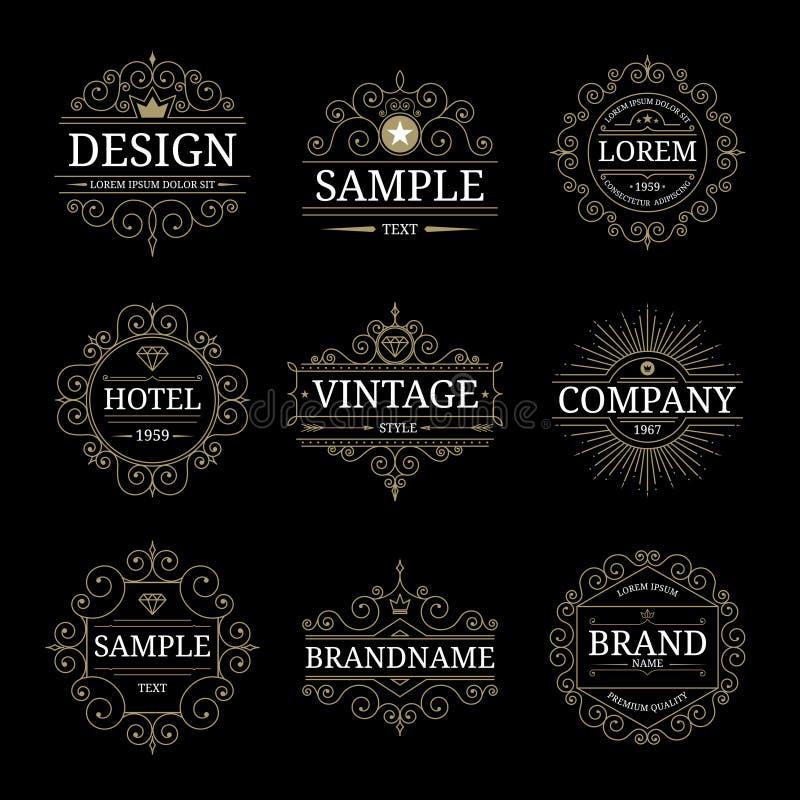 Uppsättning av lyxiga logomallar för tappning stock illustrationer