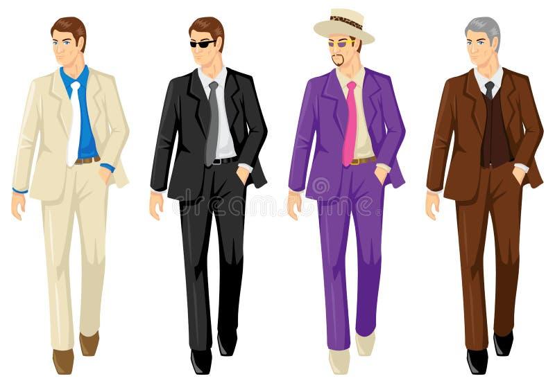 Uppsättning av män i olik dräkt stock illustrationer