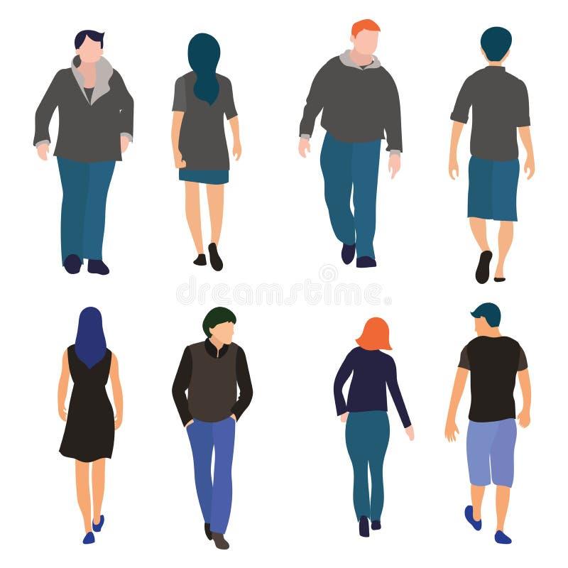 Uppsättning av män och kvinnor som går plan design för framdel- och baksidasikt vektor illustrationer
