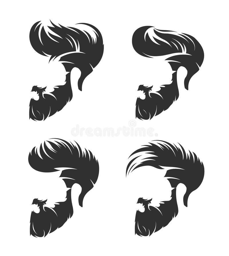 Uppsättning av mäns frisyr med skäggmustaschen stock illustrationer