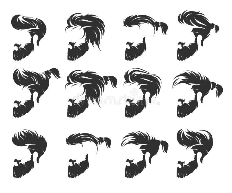 Uppsättning av mäns frisyr med skäggmustaschen vektor illustrationer