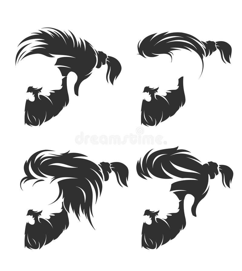 Uppsättning av mäns frisyr med skäggmustaschen royaltyfri illustrationer