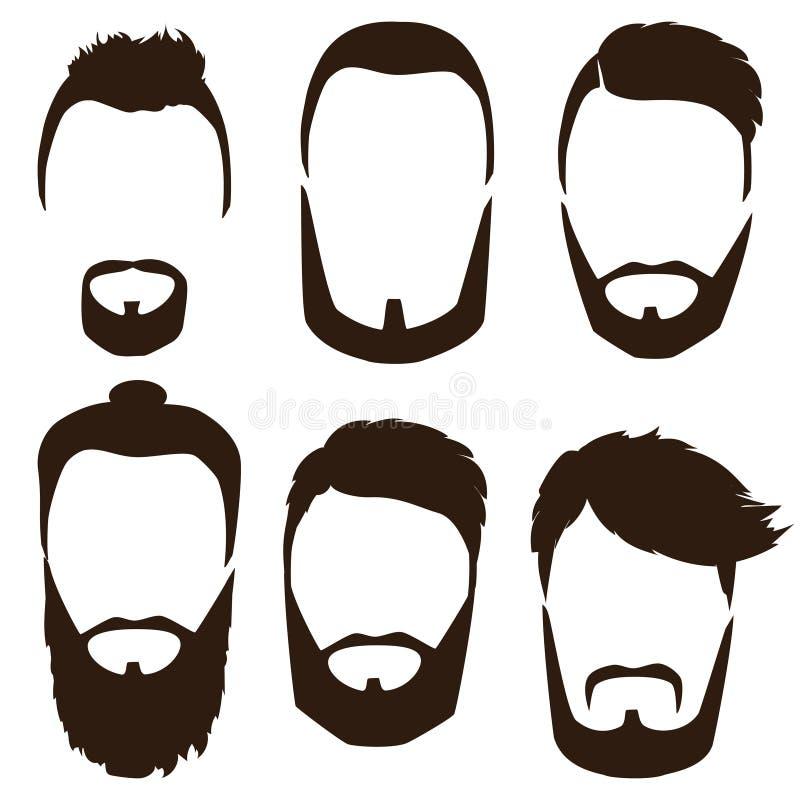 Uppsättning av mäns frisyrer, skägg och mustascher Gentlmen frisyrer och rakningar royaltyfri illustrationer
