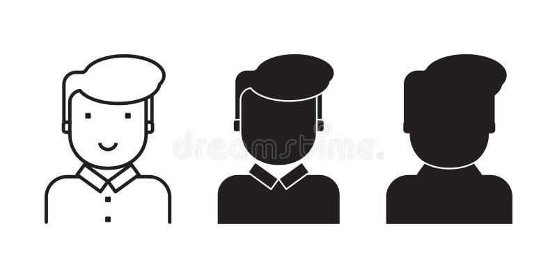 Uppsättning av mänskliga framsidor för illustrationen för användaren, klient, konsument vektor illustrationer