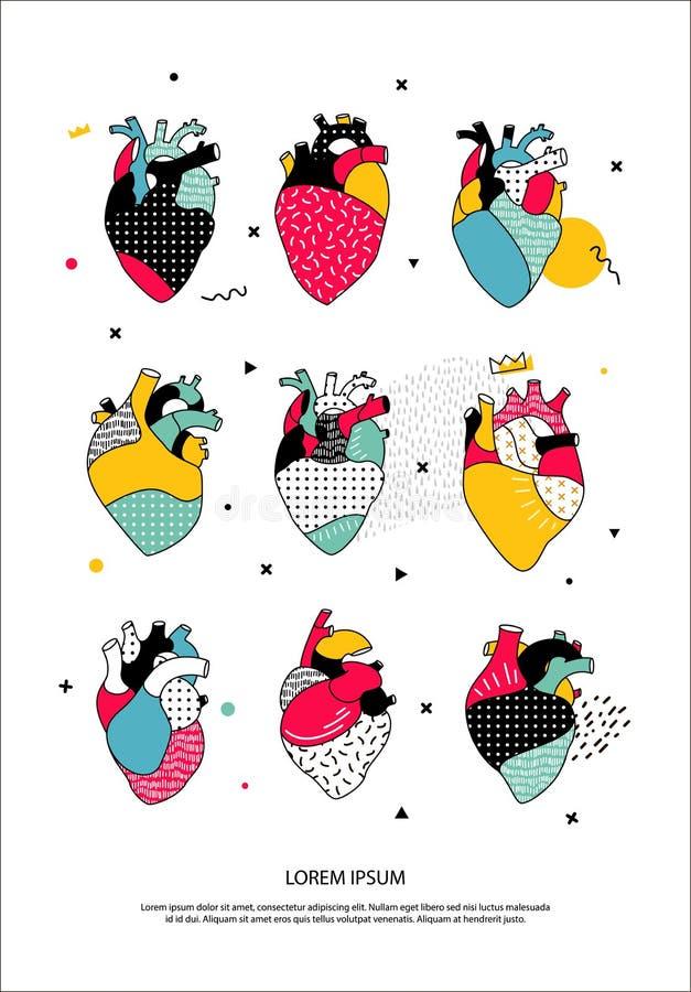 uppsättning av mänskliga hjärtor i den Memphis stilen stock illustrationer