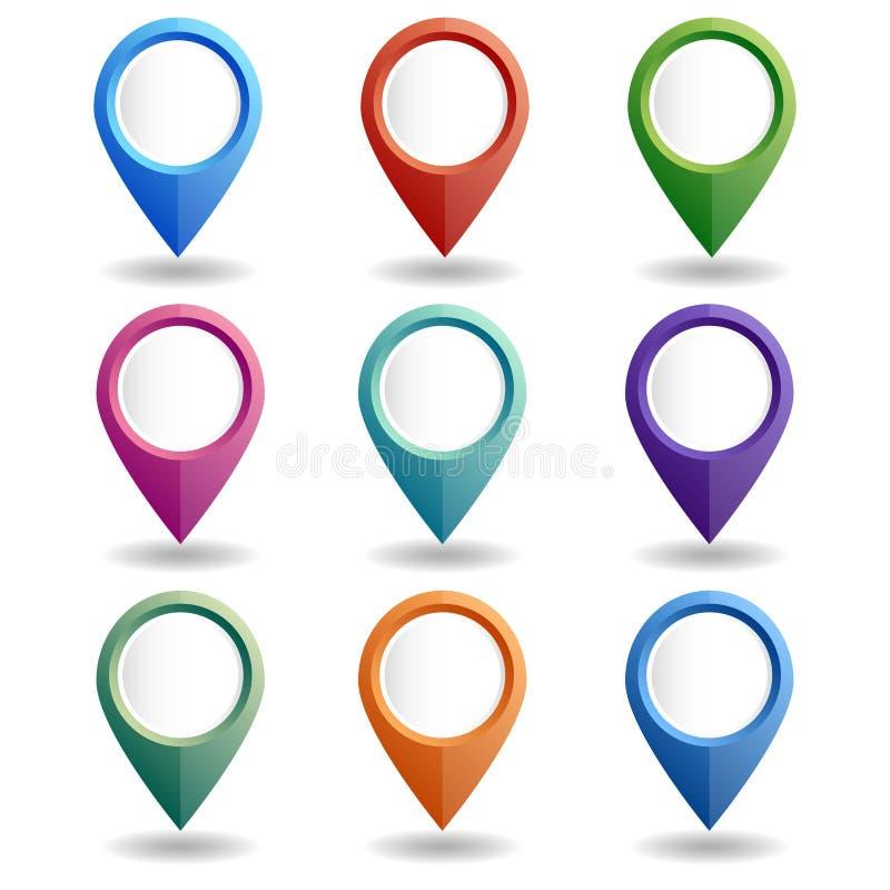 Uppsättning av mång--färgade översiktspekare GPS lägesymbol vektor illustrationer