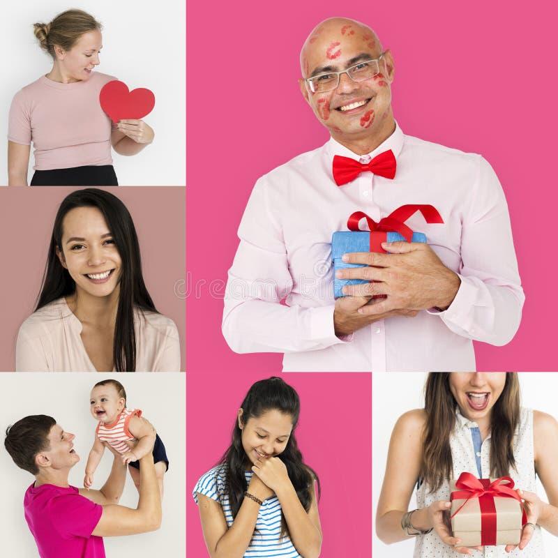 Uppsättning av mångfaldfolk med collage för hjärtaförälskelsestudio royaltyfria foton