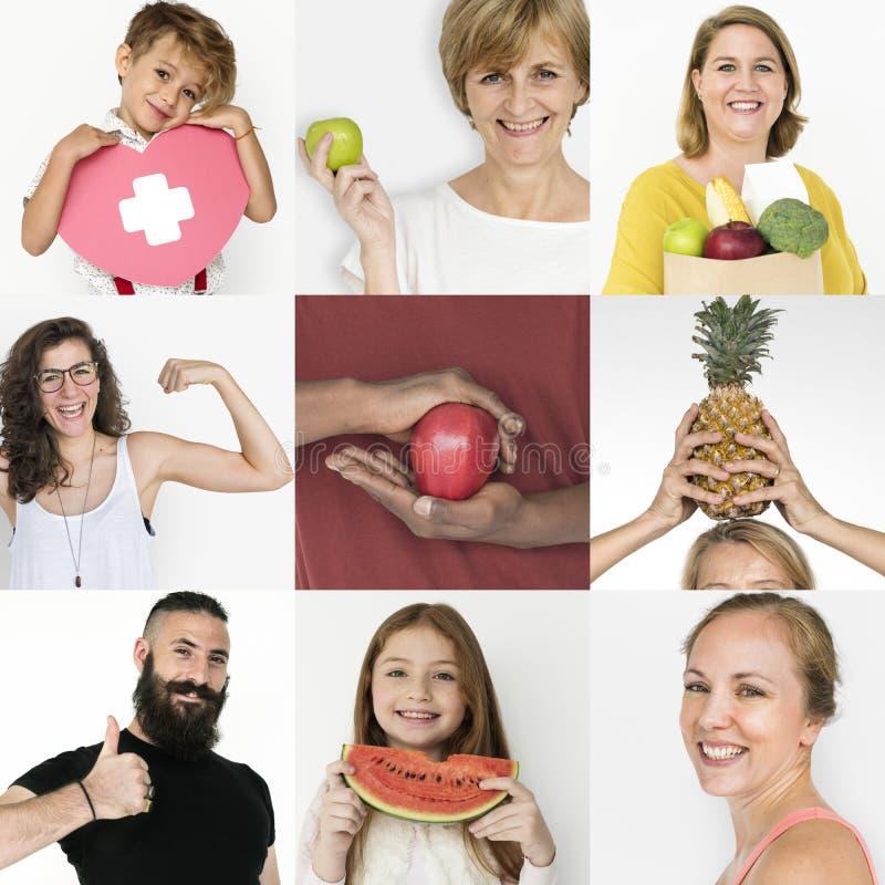 Uppsättning av mångfaldfolk med sund collage för uppehällestilstudio arkivbild