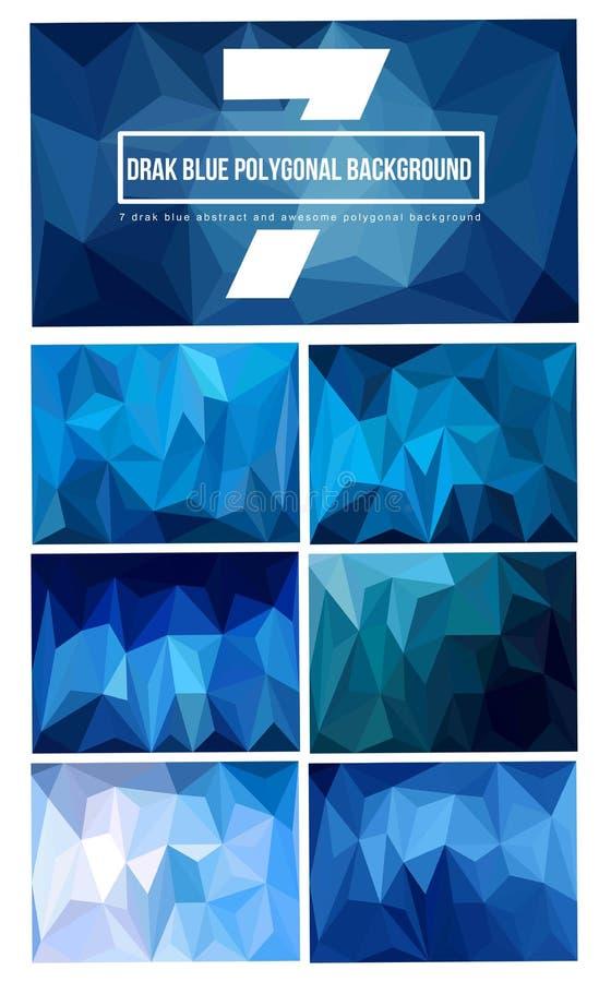 uppsättning 7 av mörker - blå polygonal bakgrund royaltyfri fotografi