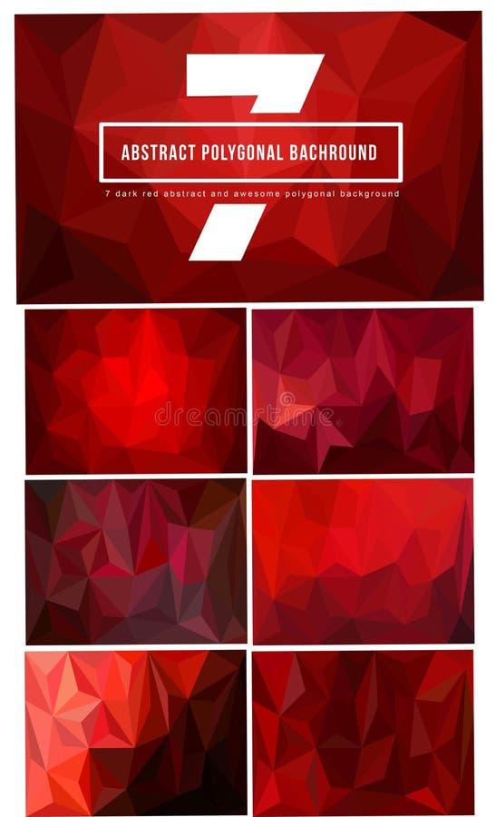 uppsättning 7 av mörker - röd polygonal bakgrund royaltyfria foton