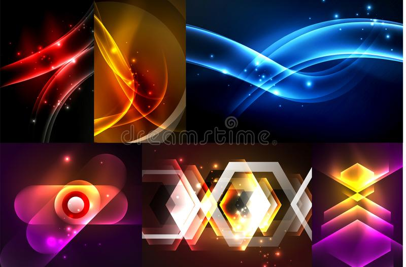 Uppsättning av mörkerabstrakt begreppbakgrunder med glödande geometriska former stock illustrationer