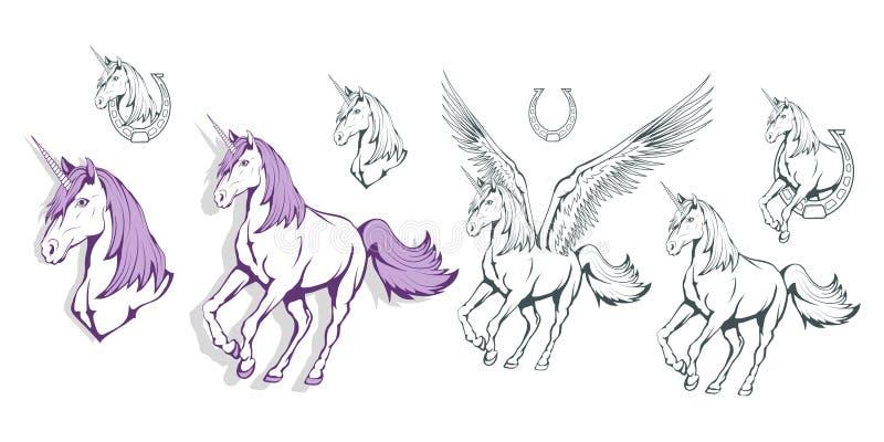 Uppsättning av magiska enhörningar unicorn Värld av fantasin Hand dragen enhörning värld för grunge för bakgrundsbokfantasi magis stock illustrationer