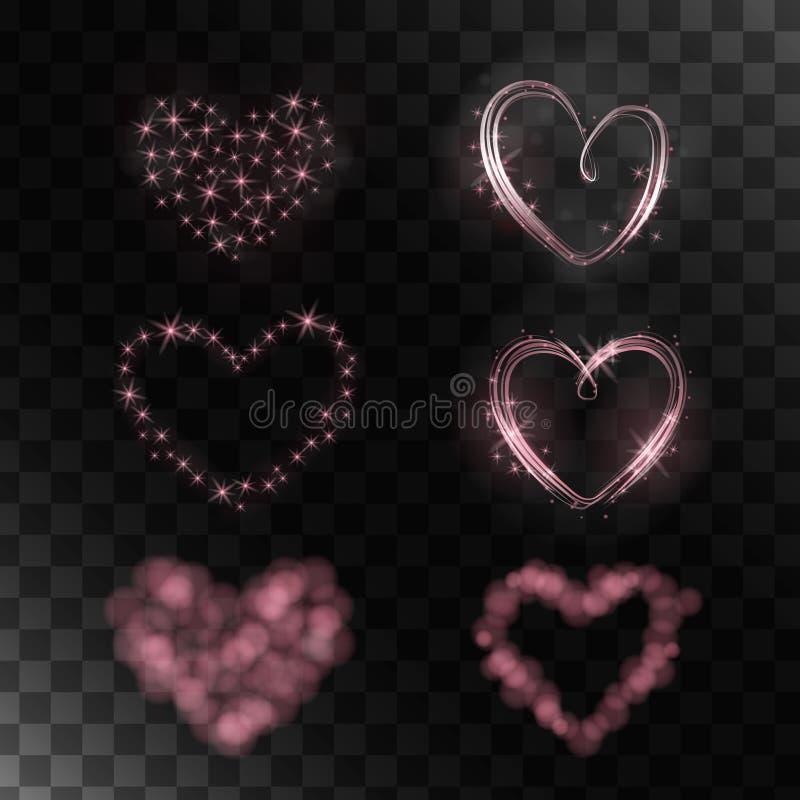 Uppsättning av magiska hjärtor vektor illustrationer