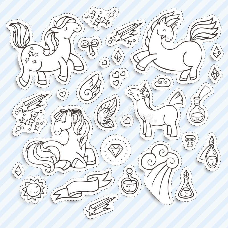 Uppsättning av magiska klistermärkear med enhörningar, vingar och drycker royaltyfri illustrationer