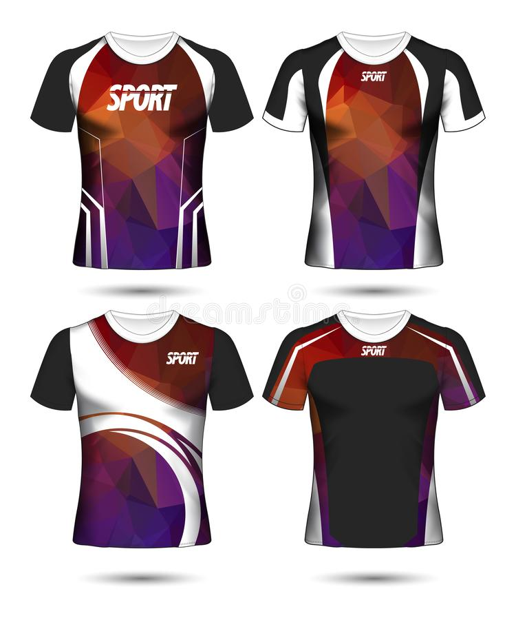 Uppsättning av mall och polo för design för fotbollsportt-skjorta orientering poly vektor illustrationer