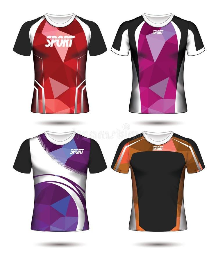 Uppsättning av mall och polo för design för fotbollsportt-skjorta orientering poly royaltyfri illustrationer