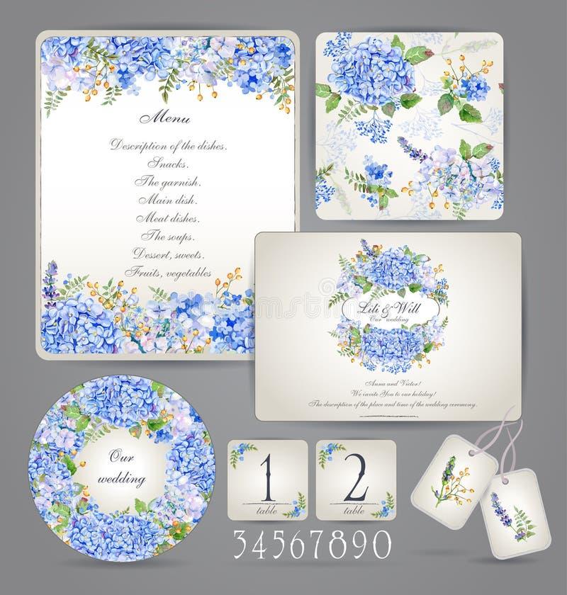 Uppsättning av mallar för beröm som gifta sig blåa blommor royaltyfri bild