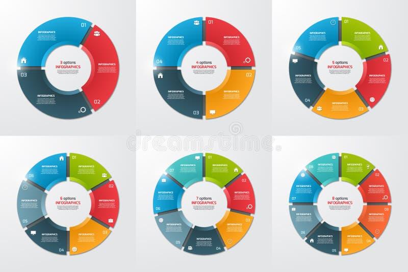 Uppsättning av mallar för cirkel för pajdiagram infographic med 3-8 alternativ