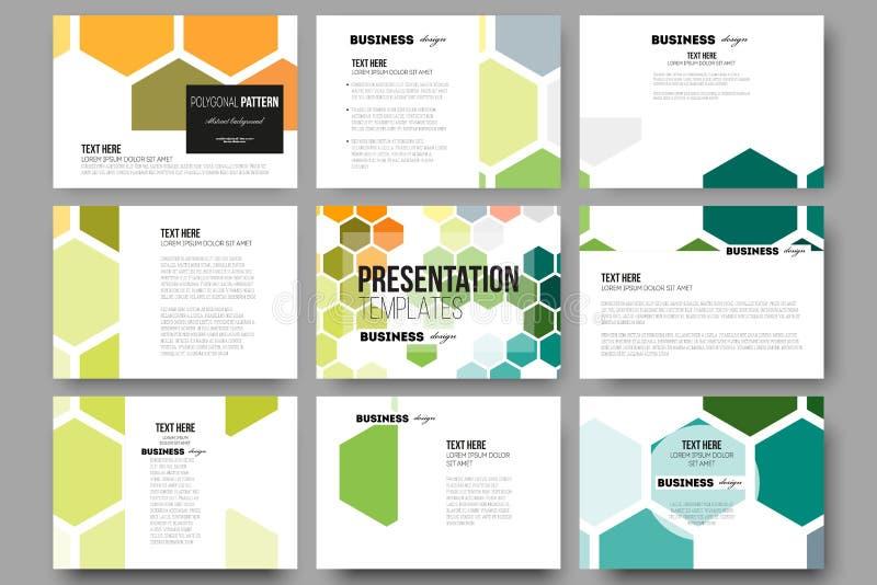 Uppsättning av 9 mallar för presentationsglidbanor Abstrakt färgrik affärsbakgrund, modern stilfull vektortextur royaltyfri illustrationer