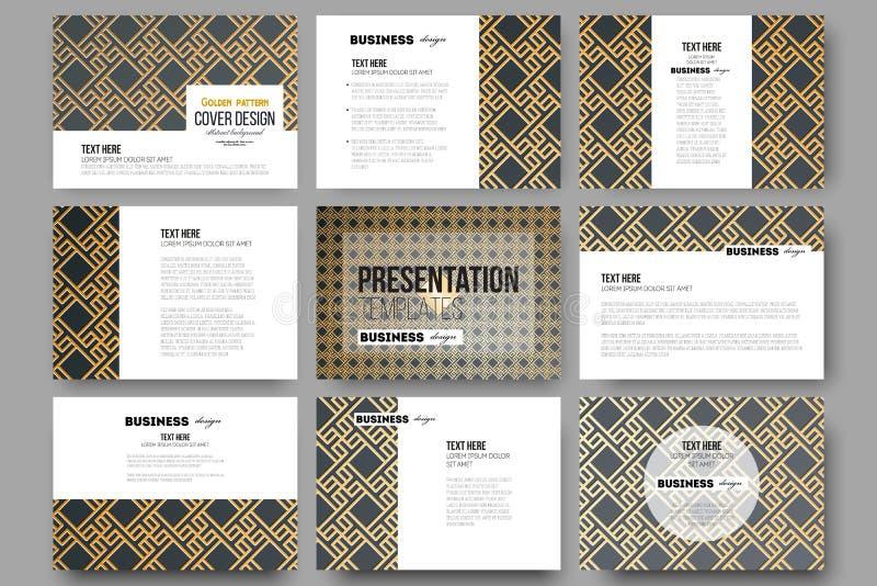 Uppsättning av 9 mallar för presentationsglidbanor Den islamiska guld- modellen med överlappning av den geometriska fyrkanten for stock illustrationer