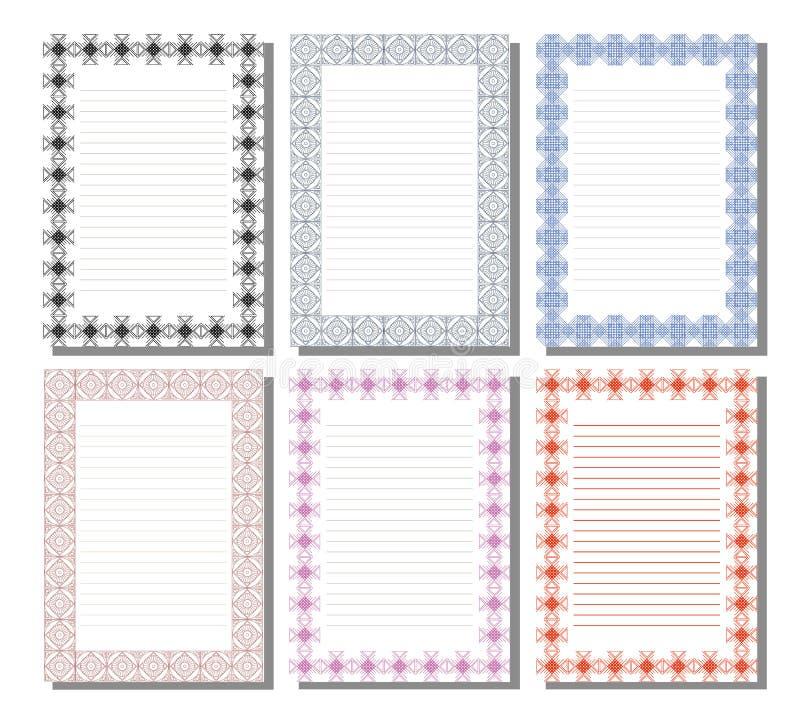 Uppsättning av mallen för bokstav, kort eller charter stock illustrationer