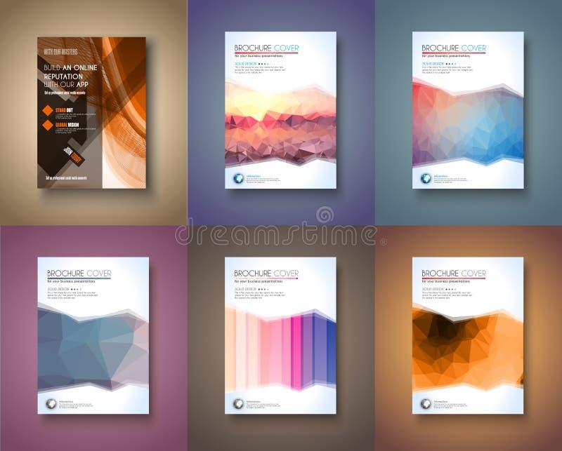 Uppsättning av mallen för 6 broschyr, reklambladdesignen och den Depliant räkningen royaltyfri illustrationer