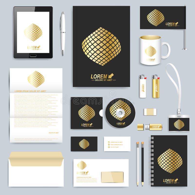 Uppsättning av mallen för företags identitet för vektor Modern affärsbrevpappermodell Svart brännmärka design Guld- form stock illustrationer