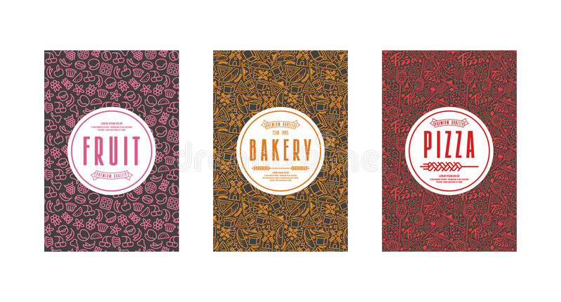 Uppsättning av malletiketter för bagerit, pizza, frukt royaltyfri illustrationer