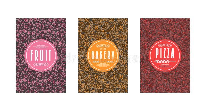 Uppsättning av malletiketter för bagerit, pizza, frukt stock illustrationer
