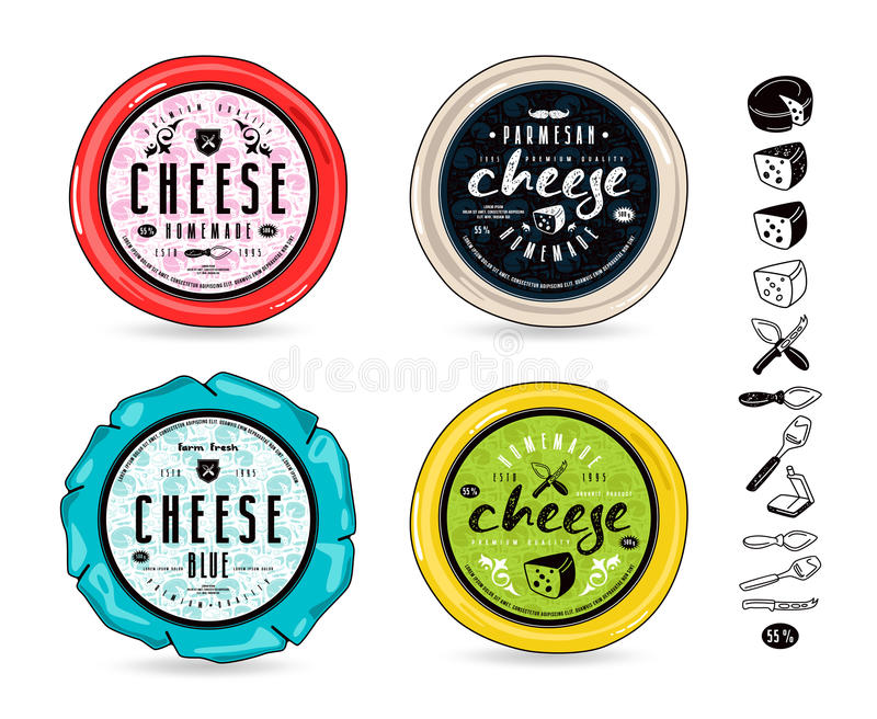 Uppsättning av malletiketter för ost- och designbeståndsdelar royaltyfri illustrationer