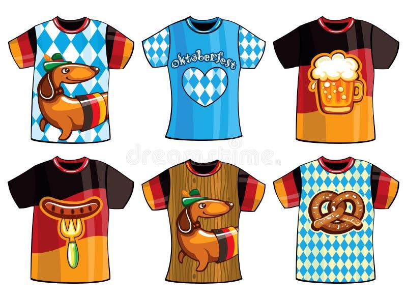 Uppsättning av mallOktoberfest t-skjortor för män och kvinna royaltyfri illustrationer