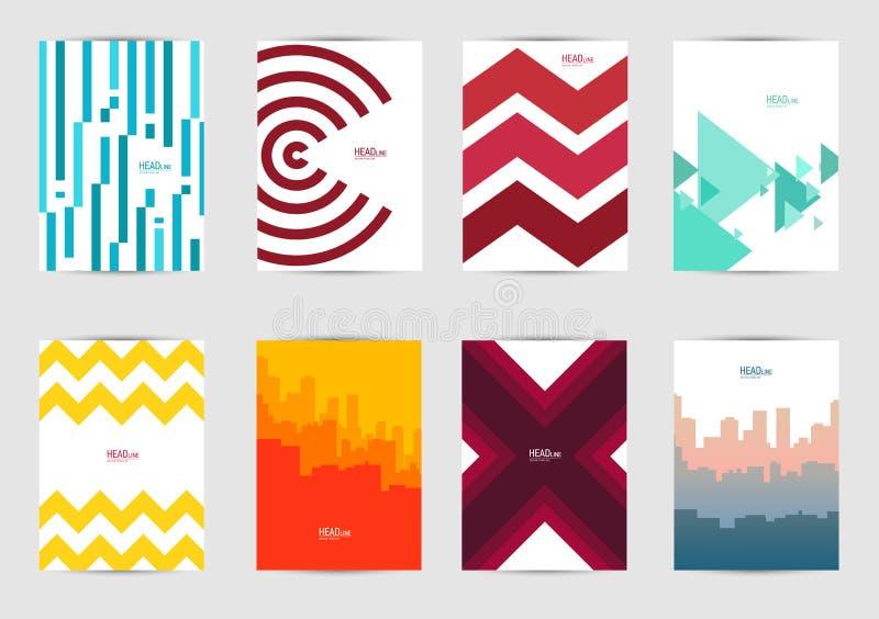 Uppsättning av mallräkningar för reklambladet, broschyr, baner, broschyr, bok stock illustrationer