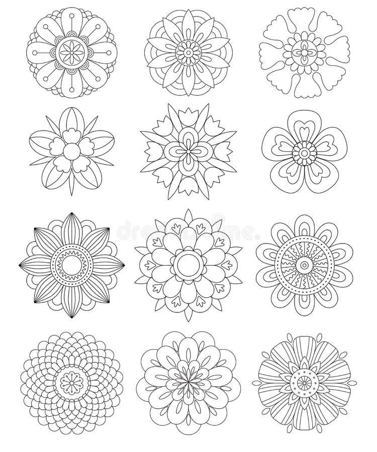 Uppsättning av mandalas, dekorativa rundaprydnader royaltyfri illustrationer