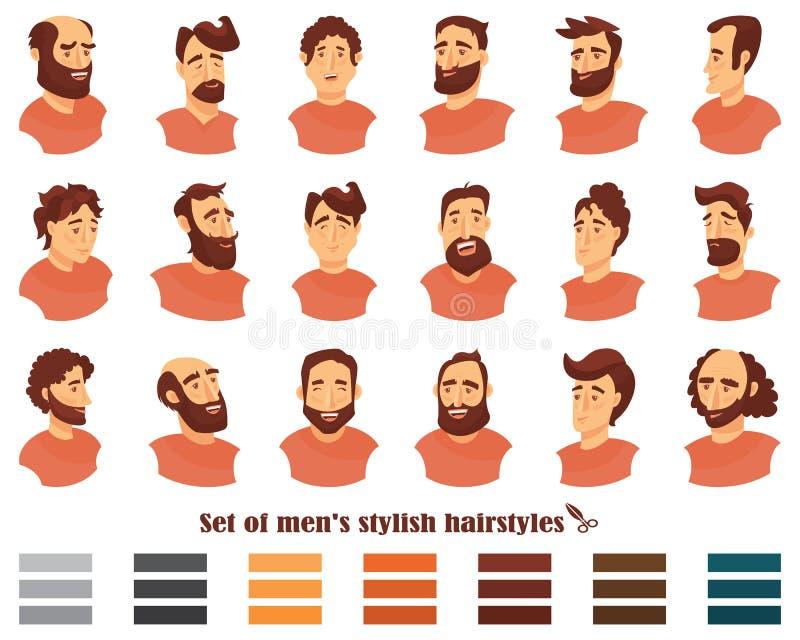 Uppsättning av manfrisyrer med skägg och mustaschen Gentlemanfrisyrer och rakningar också vektor för coreldrawillustration stock illustrationer