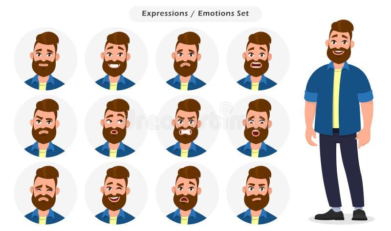 Uppsättning av manliga ansikts- olika uttryck Manemojitecken med olika sinnesrörelser Sinnesrörelser och kroppsspråkbegreppsillus vektor illustrationer
