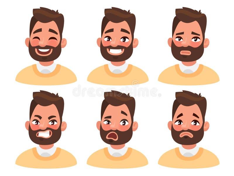 Uppsättning av manliga ansikts- sinnesrörelser Skäggigt manemojitecken med di stock illustrationer