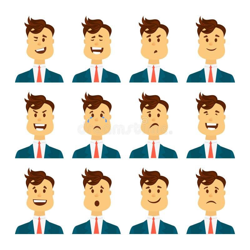 Uppsättning av manliga ansikts- sinnesrörelser Skäggigt manemojitecken med olika uttryck Vektorillustration i tecknad film stock illustrationer