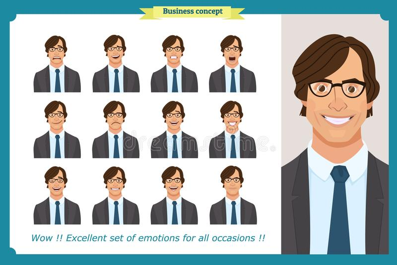 Uppsättning av manliga ansikts- sinnesrörelser Tecken för affärsman med olika uttryck Vektorlägenhet stock illustrationer