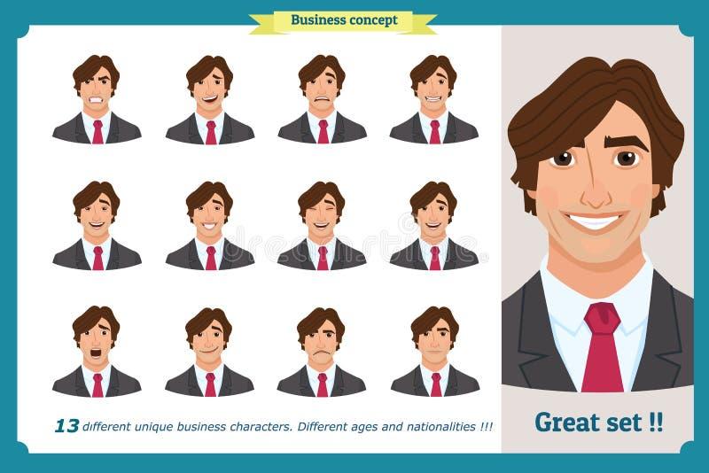 Uppsättning av manliga ansikts- sinnesrörelser Ungt tecken för affärsman med olika uttryck Plan illustration för vektor i tecknad royaltyfri illustrationer