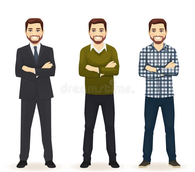 Uppsättning av mannen i olik kläder royaltyfri illustrationer
