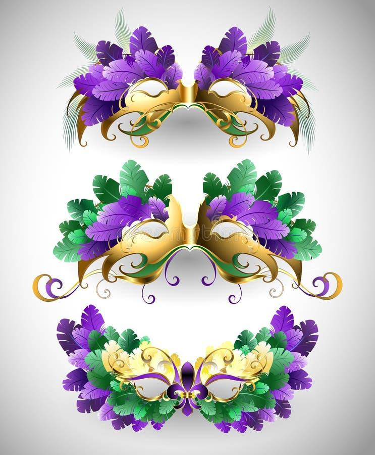 Uppsättning av Mardi Gras maskeringar stock illustrationer