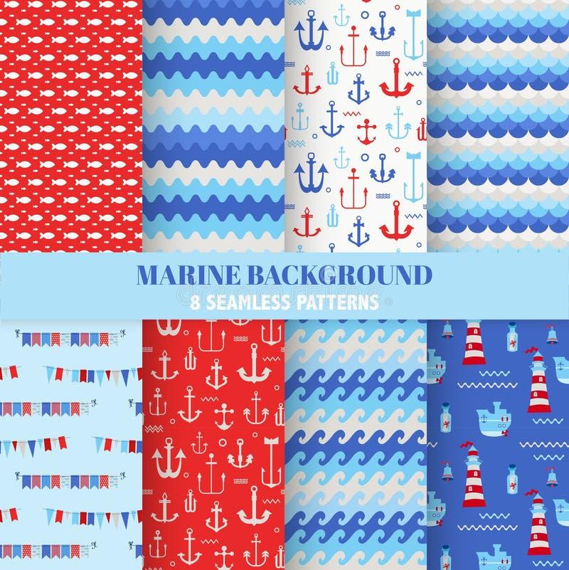 Uppsättning av marin- bakgrunder royaltyfri illustrationer