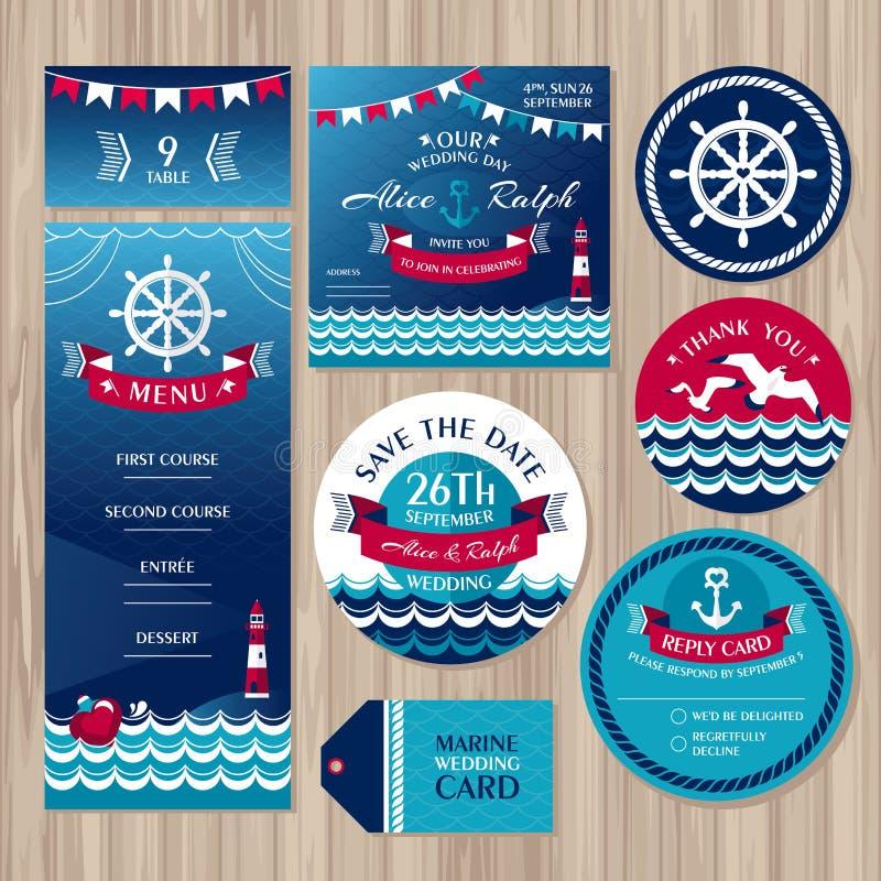 Uppsättning av marin- bröllopkort stock illustrationer