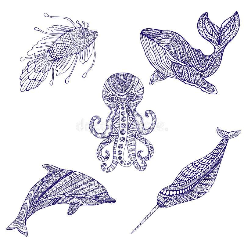 Uppsättning av marin- färgläggning för klotterdjurprydnad vektor illustrationer