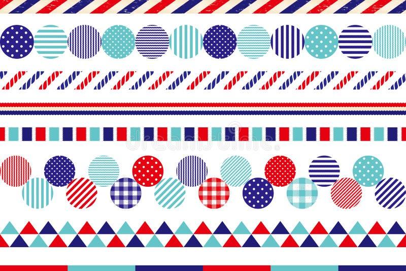 Uppsättning av marin- garneringlinjer stock illustrationer