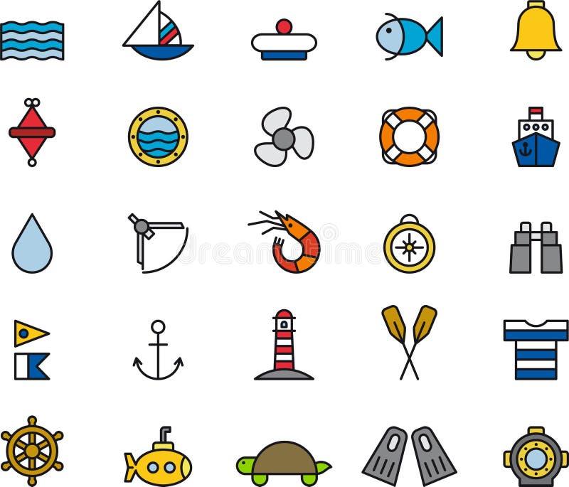 Uppsättning av marin- symboler vektor illustrationer